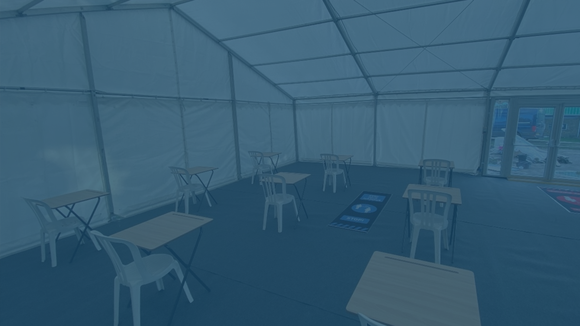 Marquee for a temporary classroom for an education client
